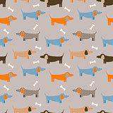 Dog seamless vector taupe colored pattern.