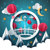 Cartoon paper landscape. Bridge, mountain, air balloon, moon, cloud illustration.