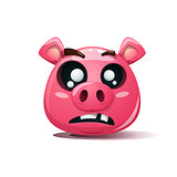 Funny, cute, crazy pig icon. Dead smiley. Symbol of 2019.