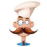 Funny, cute, cartoon man illustration. Mustache, whisker, cook, smiley.