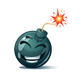 Cartoon bomb, fuse, wick, spark icon. Laugh smiley.