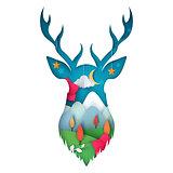 Deer illustration. Cartoon paper landscape.