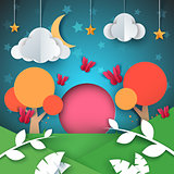 Cartoon paper landscape. Cloud, star, moon, tree illustration.