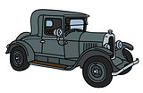 The vintage gray car