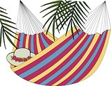 Hammock and palm illustration.
