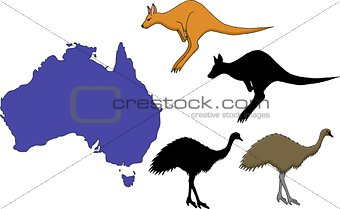 Australia cartoon travel map vector illustration.