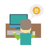 Cartoon flat illustration - mining bitcoin. A young man nerd sits behind a Desk