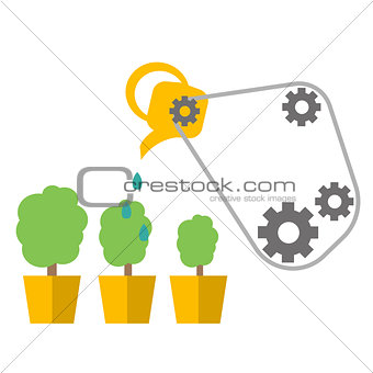 Watering can with flower vector icon. Vector flat cartoon illustration design