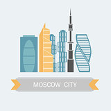 Banner of Moscow city in flat line trendy style. All buildings separated