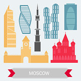 Moscow Russia - Color Buildings icon set. Vector. Travel and Tourism