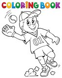 Coloring book baseball player theme 1