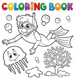 Coloring book boy snorkel diver
