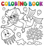Coloring book girl snorkel diver