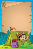 Parchment with scout in tent theme 3