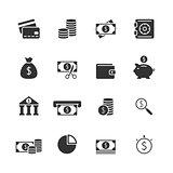 Finance blak icons set