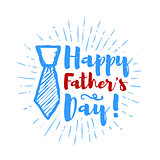 Happy father's day lettering with sunbursts background. Vector illustration