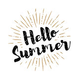 Hello Summer lettering with sunbursts vector background