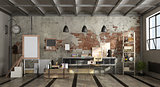 Art workshop in industrial style