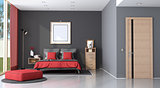 Red and black modern master bedroom