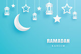 Ramadan Kareem greeting card paper art background. Eid Mubarak m