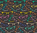 Colorful seamless eyeglasses pattern on dark background