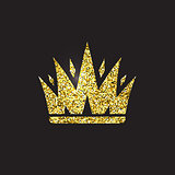 Queen crown, royal gold headdress. King golden accessory. Isolated vector illustrations. Elite class symbol on black background.