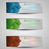 set of colored info graphic banners with different symbol