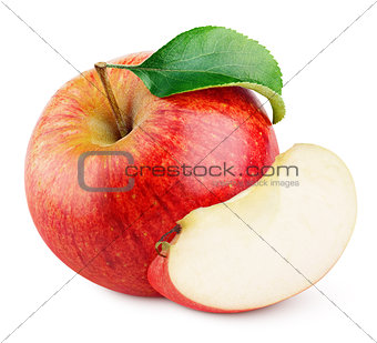 Red apple fruit with slice and green leaf isolated on white