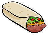 Mexican burrito tortilla cartoon illustration