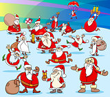 Christmas Sanat Claus cartoon characters group