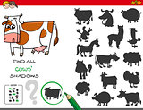 shadows game with cows characters