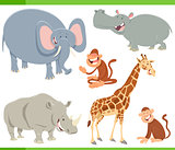 wild animals cartoon characters set