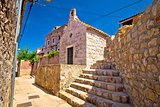 Old stone narrow street and chapel in Cavtat