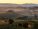 Tuscany sunrise countryside, Italy