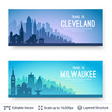 Cleveland and Milwaukee famous city scapes.