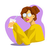 Vector creative cartoon illustration. Cute young woman drinks soda or molkshake at the office. Girl in glasses.