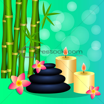 Bamboo, candles, Spa stones for banner, leaflet, brochure, poste