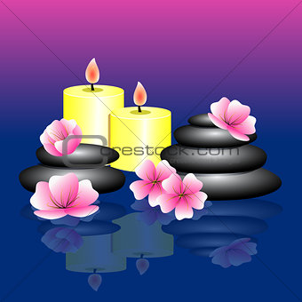 Blue pink background with Spa elements. Spa stones, pink white f