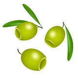 Icon of green olives without pits isolated on white background.