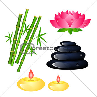 Set of Spa center elements with bamboo, candles, Lotus and stone