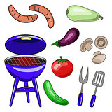 Set of vector icons of barbecue. Illustrations of the grill, sau