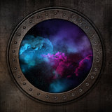 3D porthole looking out to a space sky