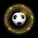 Football / soccer ball on glittery gold background
