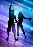 Party people on abstract background