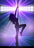 Sexy pole dancer under spotlights