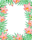 Floral frame with pink watercolor orchids