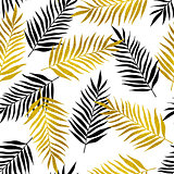Pattern with black and golden palm leaves