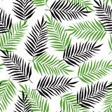 Pattern with black and green palm leaves