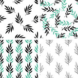 Seamless patterns with green leaves
