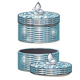 Set of round wicker baskets with lids. Vector illustration.